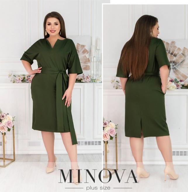 Деловое платье цвета хаки Minova Фабрика моды Размеры: 50-52, 58-60, 62-64