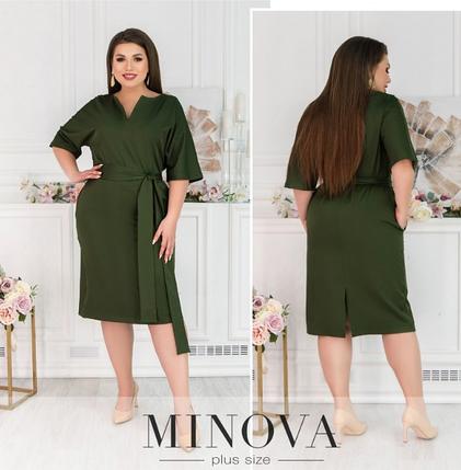 Деловое платье цвета хаки Minova Фабрика моды Размеры: 50-52, 58-60, 62-64, фото 2