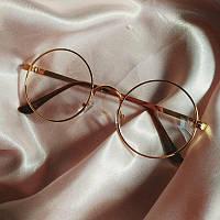 Имиджевые очки круглые с прозрачными стеклами в золотой оправе VIM