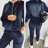 Велюровый женский спортивный костюм черный темно синий PHILIPP PLEIN