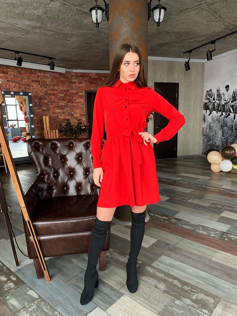 Платье стильное с поясом в 2 цветах: красное или чёрное