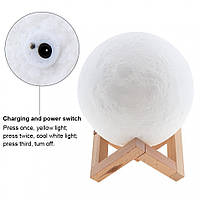 Ночник Луна аккумуляторная 3D Moon Light 15 см диаметр сенсорный пульт в комплекте