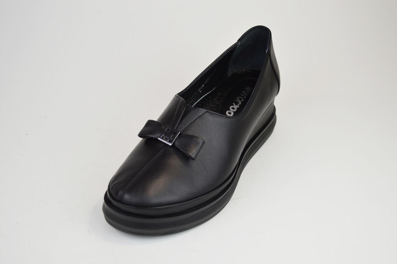 Туфли на танкетке Evromoda 820 Черные кожа