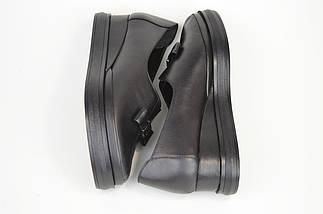 Туфли на танкетке Evromoda 820 Черные кожа, фото 3