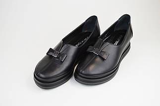 Туфли на танкетке Evromoda 820 Черные кожа, фото 2