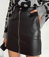 Женская модная юбка из кожзама с молнией С/M/L, фото 1