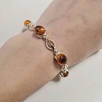Серебряный женский браслет с золотом и янтарем Видень