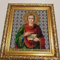 Икона вышивка бисером Пантелеймон целитель