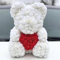 Мишка из 3D роз высотой 40см Белый