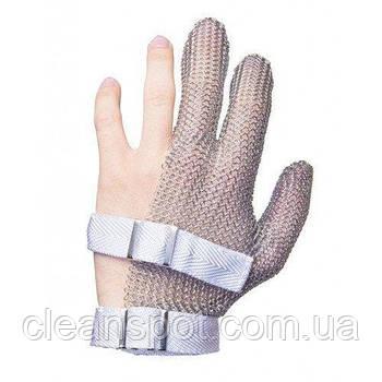 Кольчужная перчатка 3-х палая Schlachthausfreund (Германия) без манжетки с тканевым ремешком