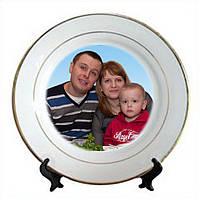 Керамическая тарелка с золотой каймой d=200мм