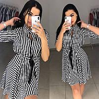 Платье мини лёгкое в чёрно- белую полоску ткань софт