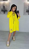 Платье модное спортивное яркое Цвета:желтый, пудра, горчица Ткань двунитка, фото 1
