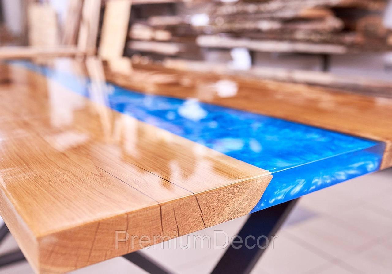 Стол из массива дерева слэбов дуба с эпоксидной смолой река лофт 140Х80Х77 см