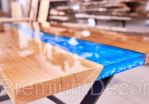 Стол из массива дерева слэбов дуба с эпоксидной смолой река лофт 140Х80Х77 см, фото 2