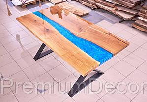 Стол из массива дерева слэбов дуба с эпоксидной смолой река лофт 140Х80Х77 см, фото 3