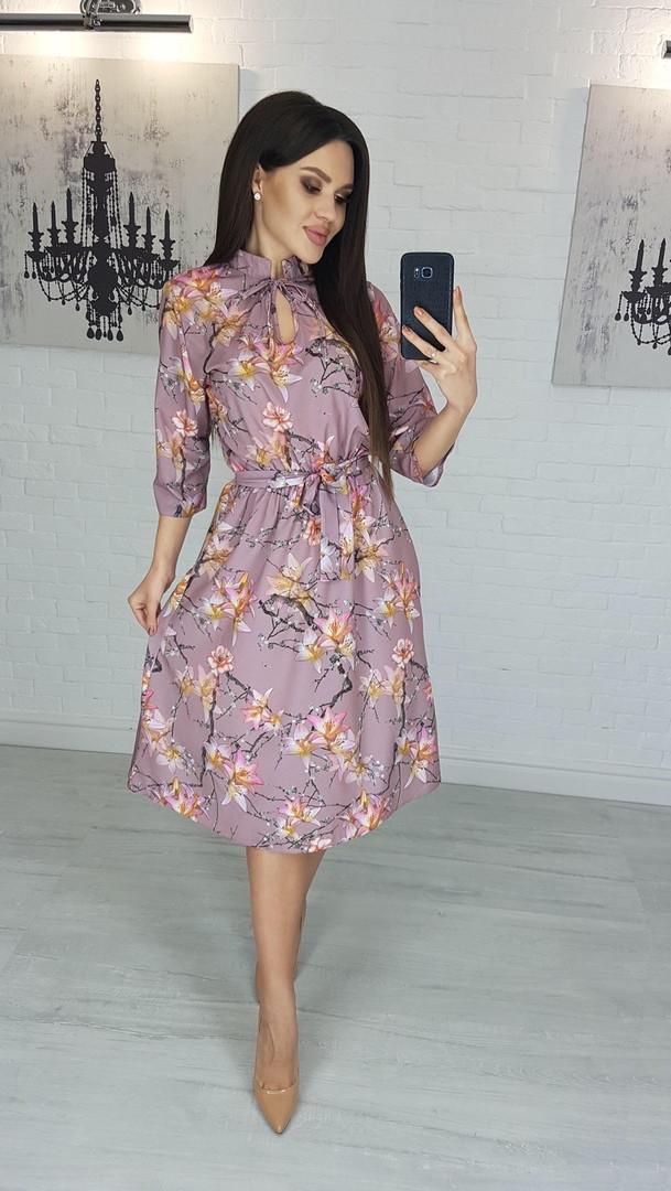 Платье миди  романтичное цветочный принт Размеры 42-46,48-52 Ткань софт