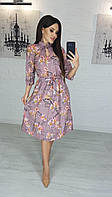 Платье миди  романтичное цветочный принт Размеры 42-46,48-52 Ткань софт, фото 1