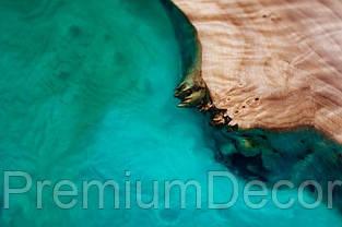 Стол из массива дерева слэбов капового тополя с эпоксидной смолой река лофт 180Х80Х77 см, фото 2
