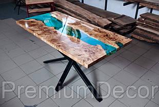 Стол из массива дерева слэбов капового тополя с эпоксидной смолой река лофт 180Х80Х77 см, фото 3
