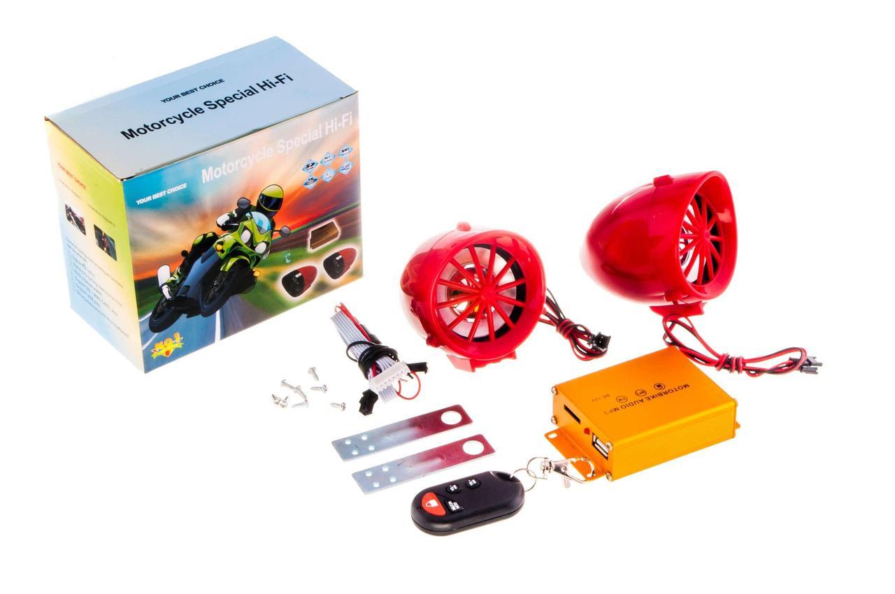 Аудиосистема для мототехники, мотоакустика (2.5, красная, сигн., МР3/FM/SD/USB, ПДУ, разъем ППДУ 3K) BEST