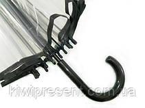 Зонт трость прозрачный с черным ободком без принта (14 спиц), фото 3