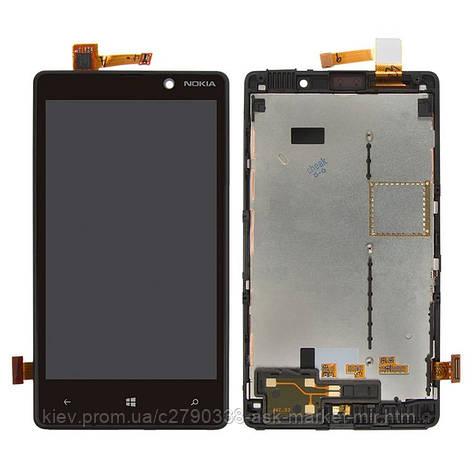 Дисплей для Nokia Lumia 820 Original Black с сенсором и рамкой, фото 2