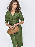 Кожаное платье на застежке кнопки и с рукавом три четверти, фото 5