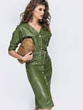 Кожаное платье на застежке кнопки и с рукавом три четверти, фото 6