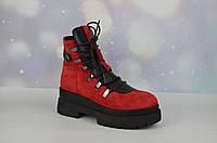 Красные зимние женские ботинки AQUAMARIN