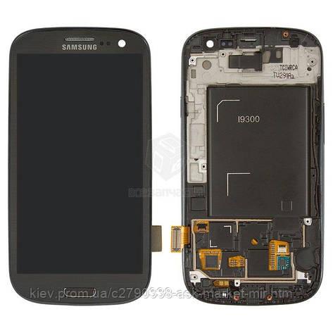 Дисплей для Samsung Galaxy S3 I9300 Original Grey с сенсором и рамкой #GH97-13630F, фото 2