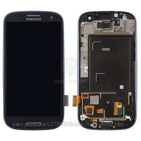 Дисплей для Samsung Galaxy S3 I9300 Original Dark Blue с сенсором и рамкой #GH97-13630A, фото 2