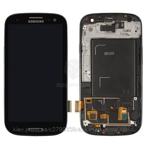 Дисплей для Samsung Galaxy S3 I9300 Original Black с сенсором и рамкой #GH97-13630E, фото 2