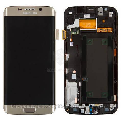 Дисплей для Samsung Galaxy S6 Edge G925F Original Gold с сенсором и рамкой #GH97-17162C, фото 2