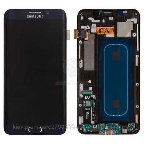 Дисплей для Samsung Galaxy S6 EDGE+ G928 Dark Blue с сенсором и рамкой, фото 2