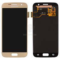 Дисплей для Samsung Galaxy S7 G930F, Galaxy S7 Duos G930FD Original Gold с сенсором #GH97-18523C