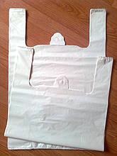 Белый пакет майка 44*65 см/40 мкм без печати прочный, полиэтиленовые белые пакеты без логотипа оптом купить