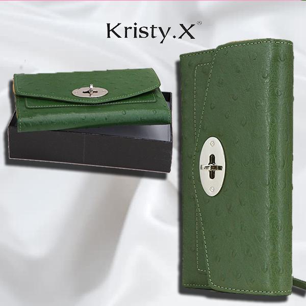 Жіночий шкіряний гаманець колір зелений