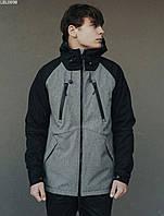 Куртка мужская фирменая Staff soft shell black & gray ros