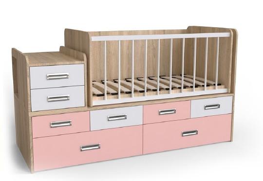 Дитяче ліжко Art-In-Head АЛ-16 СМУРФ горіх світлий+рожевий