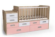 Дитяче ліжко Art-In-Head АЛ-16 СМУРФ дуб сонома+рожевий 1932х832х700