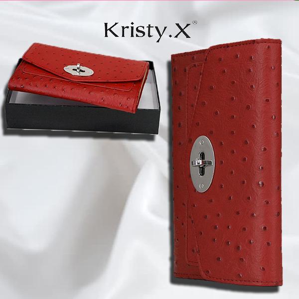 Женский кожаный кошелек цвет красный