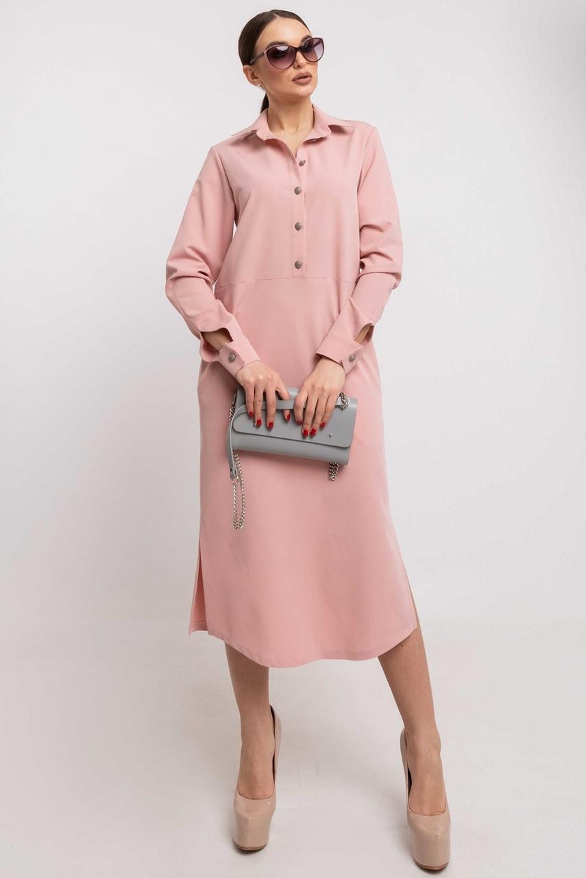 Модное платье–рубашка миди Tendi (46–52) в расцветках