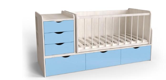 Дитяче ліжко Art-In-Head АЛ-18 ФІКС білий супермат+блакитна лагуна