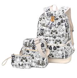 Рюкзак молодежный Черно-Белые Совята Набор 3 в 1