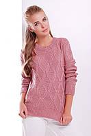 Вязаный женский свитер в косичку