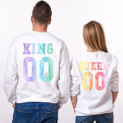 Парные именные свитшоты KING/QUEEN - Multicolor Watercolor [Цифры можно менять] (50-100% предоплата)