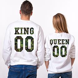 Парные именные свитшоты KING/QUEEN - Military [Цифры можно менять] (50-100% предоплата)