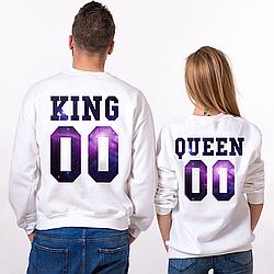 Парные именные свитшоты KING/QUEEN - Space [Цифры можно менять] (50-100% предоплата)