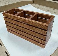 Подставка для столовых приборов из дуба 22х8х11,3 см прямоугольная, с отделениями